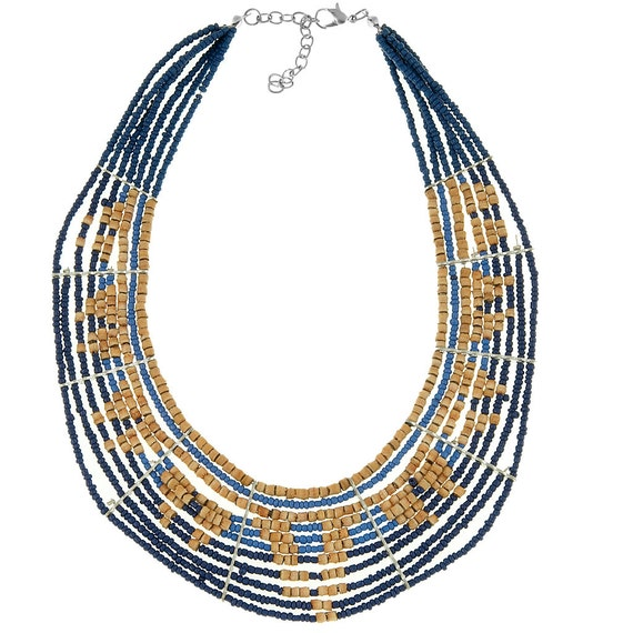Multi layer necklace, eleven rows beaded necklace made of blue beads and cork