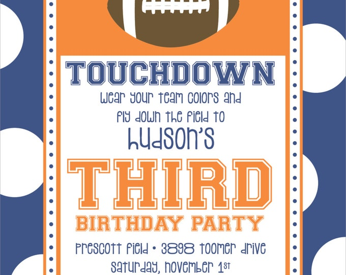 Football Touchdown  | Birthday Party Invitation