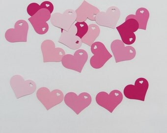"""Pink Heart in Heart Paper die cuts /  card-stock paper/ size 2"""" x 1.5"""""""