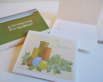 Vintage Boxed Christmas Card Invitations by Current Stationery, Retro 80s Classic Style with Envelopes New