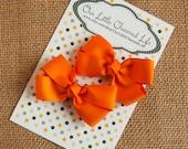 Tangerine Orange Pig Tail Bows, Orange Piggy Tail Bows, Toddler Bows, 3 Inch Bows, Baby Hair Bows, Orange Hair Bow, Toddler Hair Bows