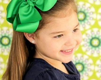 Green XL Hair Bow, Christmas Hair Bow, Holiday Hair Bow, Green Hairbow, Extra Large Green Hair Bow, Boutique Hair Bow, Big Hair Bows