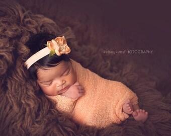 Flower Headband, Peach Flower, Peach Headband, Peach Flower Headband, Peach, Newborn Prop, Newborn Headband, Baby Headband, Photography Prop
