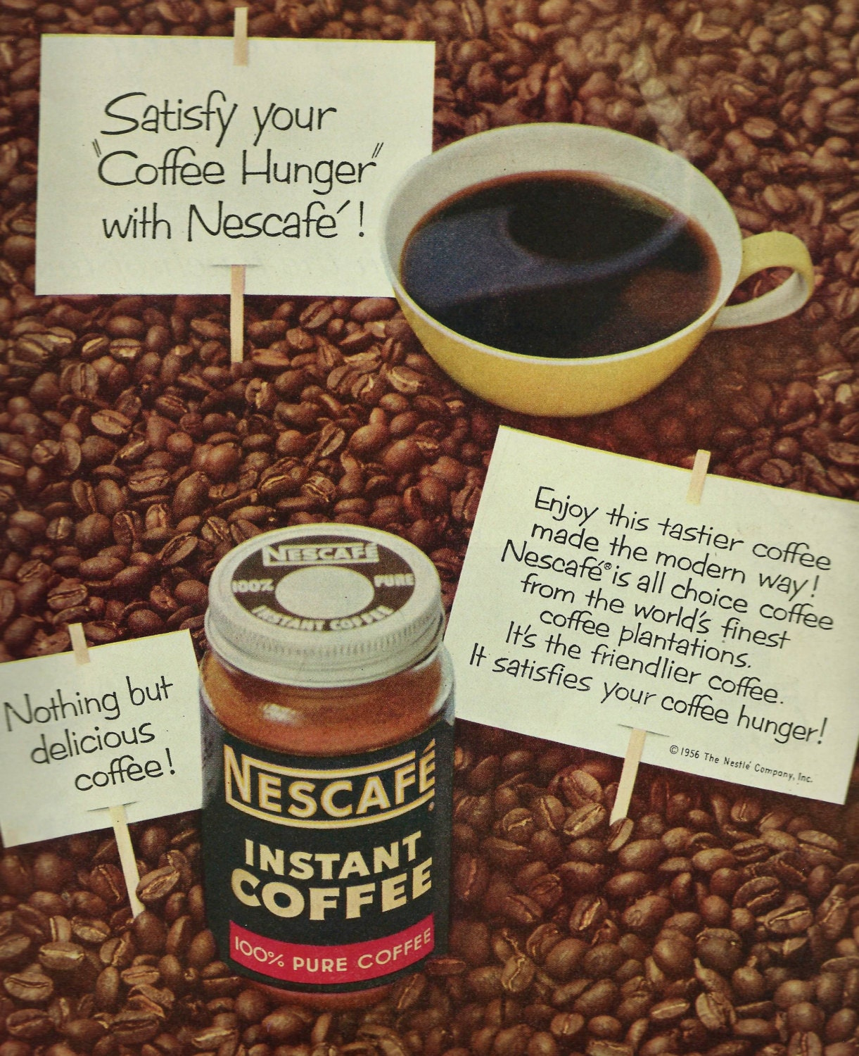 Vintage Coffee Advertisement 1956 Nescafe Instant Coffee Ad