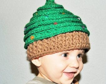 christmas tree hat, christmas party hat, christmas tree beanie, christmas photo prop, newborn photo prop,, cute beanie, tree beanie,