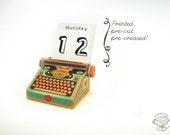 Printed Papercraft DIY Perpetual Desk Calendar   Colorful Typewriter Miniature   Pre-cut, Pre-creased Sheets. Writer Author Gift