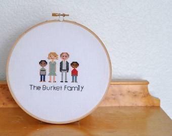Custom Family Portrait Cross Stitch framed in Embroidery Hoop