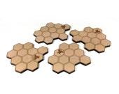 Honeycomb Hexagon Coasters & Trivet / Wood Engraved / Honeybee Beehive