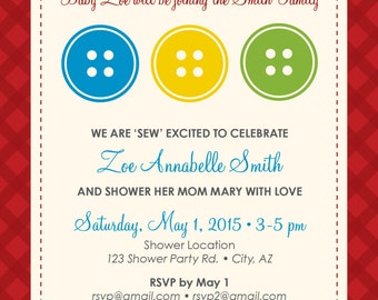 Baby shower invitation - Cute as a Button theme, printable file