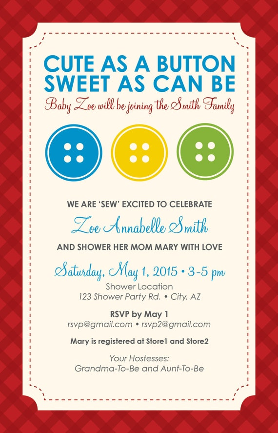 baby shower invitation cute as a button theme printable file