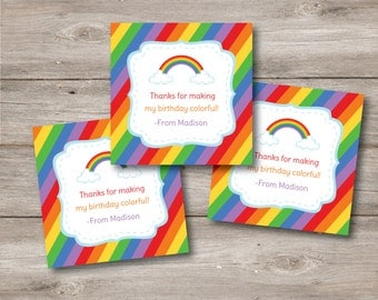 Rainbow Favor Tag with Editable Text, Personalized Custom Printable Rainbow Party Thank You Tags, Rainbow Printable Customizable Favor Tags