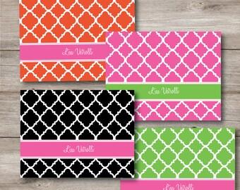Personalized Quatrefoil Note Card Set, Four Colors Editable Text Printable Note Card Set, Printable Editable Note Card Set, Custom Note Card