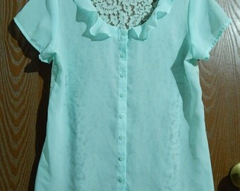 Van Heusen Womens S/P (Small/Petite) Turquoise Sheer with Lace Back Blouse/Top