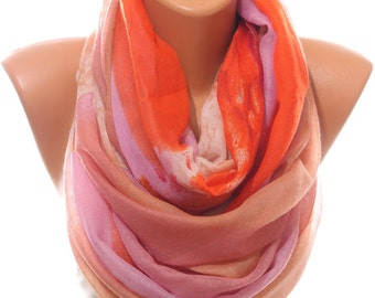Multicolor Scarf Orange Scarf Lightweight Woman Scarf Trend Scarf Infinity Scarf Women's Fashion Accessories Scarves Gift Ideas For Her