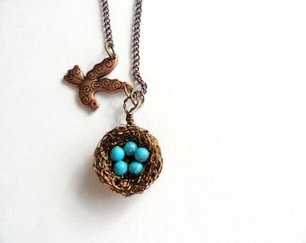 Birds nest necklace, Birds nest pendant , birds charm necklace, birds nest jewelry, turquoise birds nest, handmade jewelry