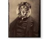 "Lion Surreal Art Print, Mixed Media Collage, Anthropomorphic, Leo Birthday Gift, August Birthday Gift, Sepia (3 Sizes) ""The Philosopher"""
