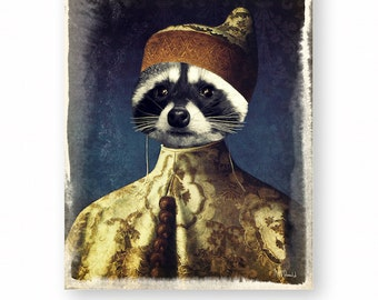 "Raccoon Art Print, Woodland Animals, Anthropomorphic, Zen Decor, Mixed Media Collage Nursery Decor (3 Sizes Available) ""Woodland Wise One"""