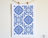 Traditional Blue Medallion Tile Collage Printable Art Digital Download Instant Download