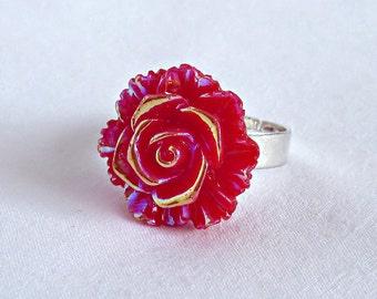 Red Rose Ring; Adjustable Statement Ring; Flower Ring; Red Rose Jewelry; Rainbow Ring; Resin Rose Ring; Cabochon Ring; Aurora Borealis Ring