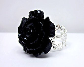 Black Rose Ring; Silver Filigree Ring; Adjustable Ring; Resin Rose Ring; Black Rose Jewelry; Goth Ring; Filigree Rose Ring; Handmade Ring