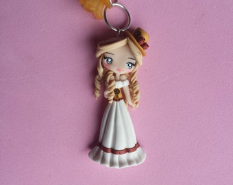 girl steampunk style  polymer clay necklace, fimo