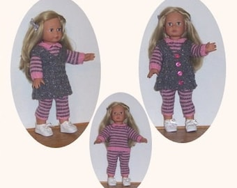 PDF 18 inch doll knitting pattern, fits Our Generation, American Girl, Gotz, and similar size dolls. Sweater, leggings and overdress