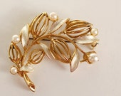 Vintage Golden Brooch, Leaves and Pearls Filigree Pin, Retro Jewelry, White Enamel, Gift for Her, Soviet Brooch from USSR 1960s