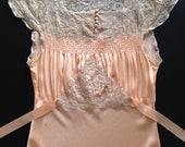 30s apricot silk nightgown with opulent lace / S / M / never worn