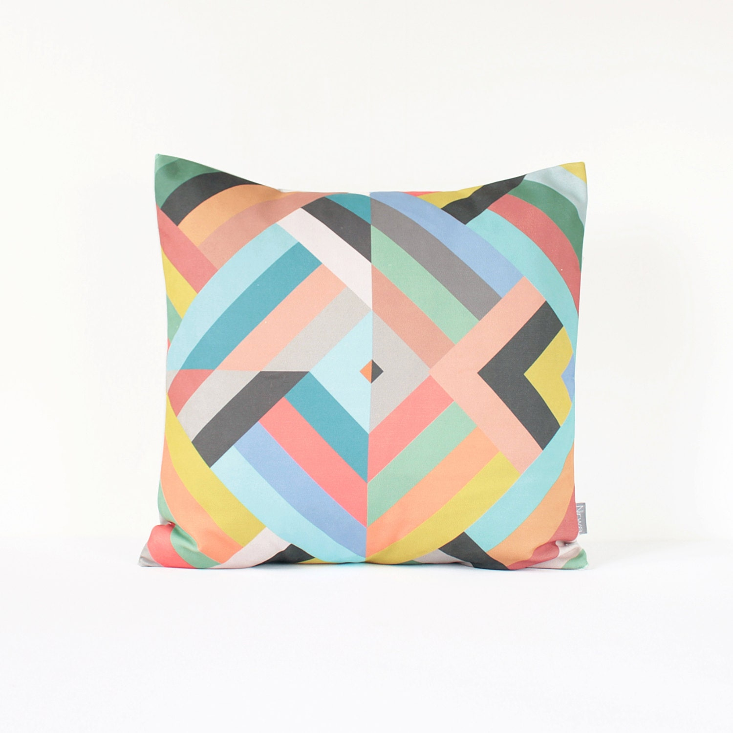 Dark Coral Throw Pillows : Geometric Decorative Pillow Cover in Pink Gray Coral Mint by Nirwa