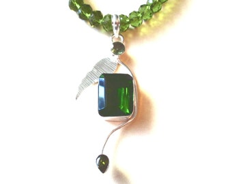 Lovely Peridot Necklace, Sterling Silver Peridot Pendant and Glass Bead Necklace