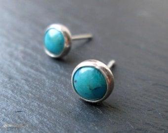 Turquoise Stud Earrings - Stud Earrings. Sterling Silver, Gift Jewellery