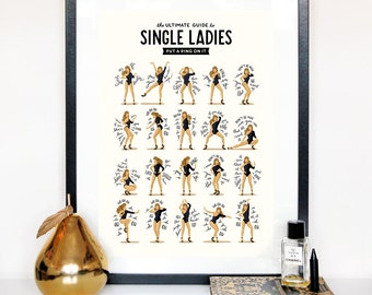 Single Ladies dansent musique affiche, Queen B cadeau pour elle, la danse Illustration Tutorial, affiche drôle, Fun Pop Art Wall Art, typographie paroles