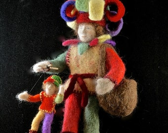 The Jester is an original needle felted art doll