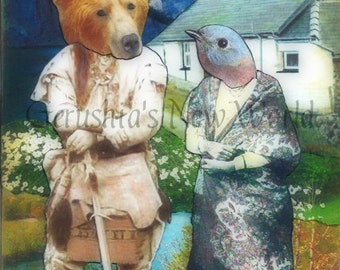"""Old Bill and Wind Blossom (Created for the book """"Welsh in the Old West"""") - Collage,Mixed Media, Print"""