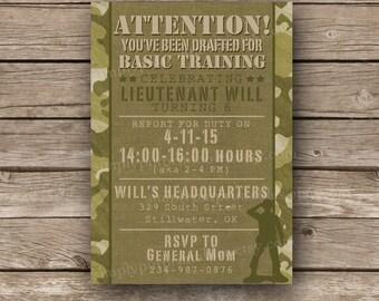 Army Camo Birthday Invitation Printable   Military Birthday Party   Boot Camp Birthday   Camouflage Invite   Boys Birthday   Digital File