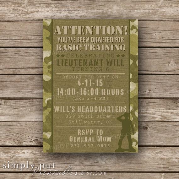 Army Camo Birthday Invitation Printable Military Birthday