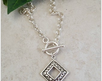 Sterling Silver Front Clasp Necklace / Layering Necklace