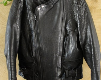 Vintage Black Leather Motorcycle // Biker Jacket MENS Size 42 large 1980s 1990s 80s 90s  XL Protech leather apparel