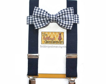 Navy Blue boys bow tie and suspenders set, navy gingham boys bow tie, navy baby bow tie, Navy wedding, ringbearer, navy boys suspenders,