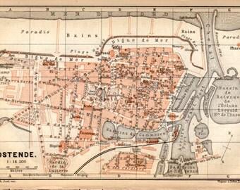 1897 Ostend, Belgium, Antique Map, Vintage Lithograph, Oostende, België, Ostende, Belgique, West Flanders, Mariakerke, Stene, Zandvoorde