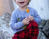 Baby Boy Leggings, Buffalo Plaid, Red and Black Check, MADE TO ORDER Cotton Leggings by The Little Spoons