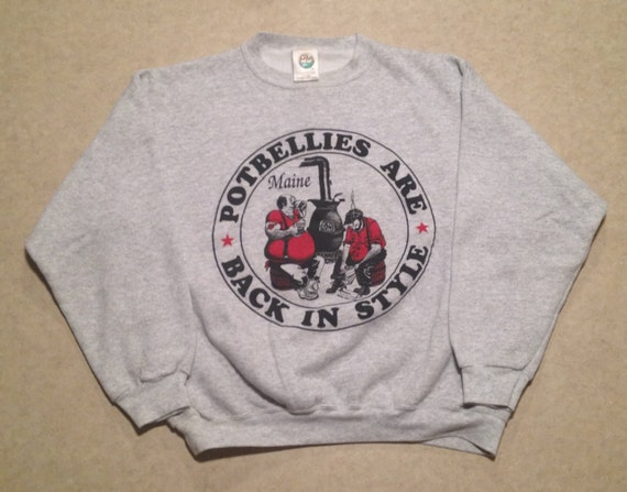vintage 1989 potbellies maine retro sweatshirt xl