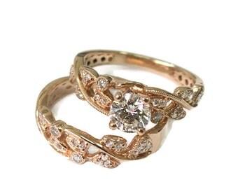 Leaves Engagement Set Rose Gold Set 14k Set Wedding set Antique Ring Vintage Ring Leaf Ring Wedding Ring Set Wedding Band Set Ring Set