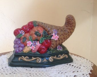 Vintage Cast Iron Horn of Plenty Cornucopia Door Stop- Perfect for your fall decor.