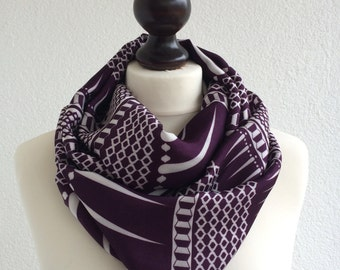 Purple Plum Loop Scarf, Geometric Circle Scarf Loop Infinity Scarf Soft Satin and Cotton Women Designscope, Fast Delivery