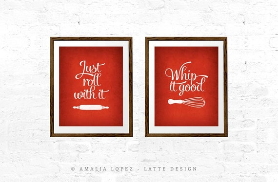Set of two prints red kitchen print mothers day print whip it for Red kitchen wall art