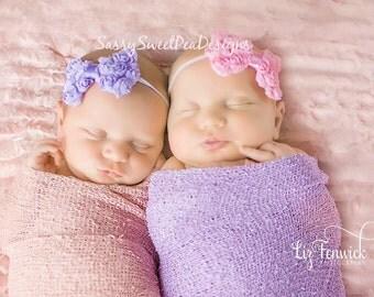 NEW Shabby Bow on Skinny Elastic Headband..Newborn, Baby, Girls Photo Prop Bow, Baby Shower