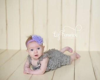 Lavender Rosette Freyed Heart Headband.. Newborn, Baby, Girls  First Valentine's Day Heart Bow...Heart Headband