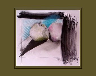 Still life original colour pencil drawing Pear and Apple still life signed by the artist Paul Woods 2013