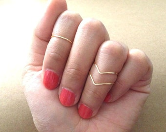On Sales- Knuckle ring set of 3: Gold / silver knuckle rings, (1 Mid ring 2 Chevron rings),stacking rings, above knuckle ring, toe ring